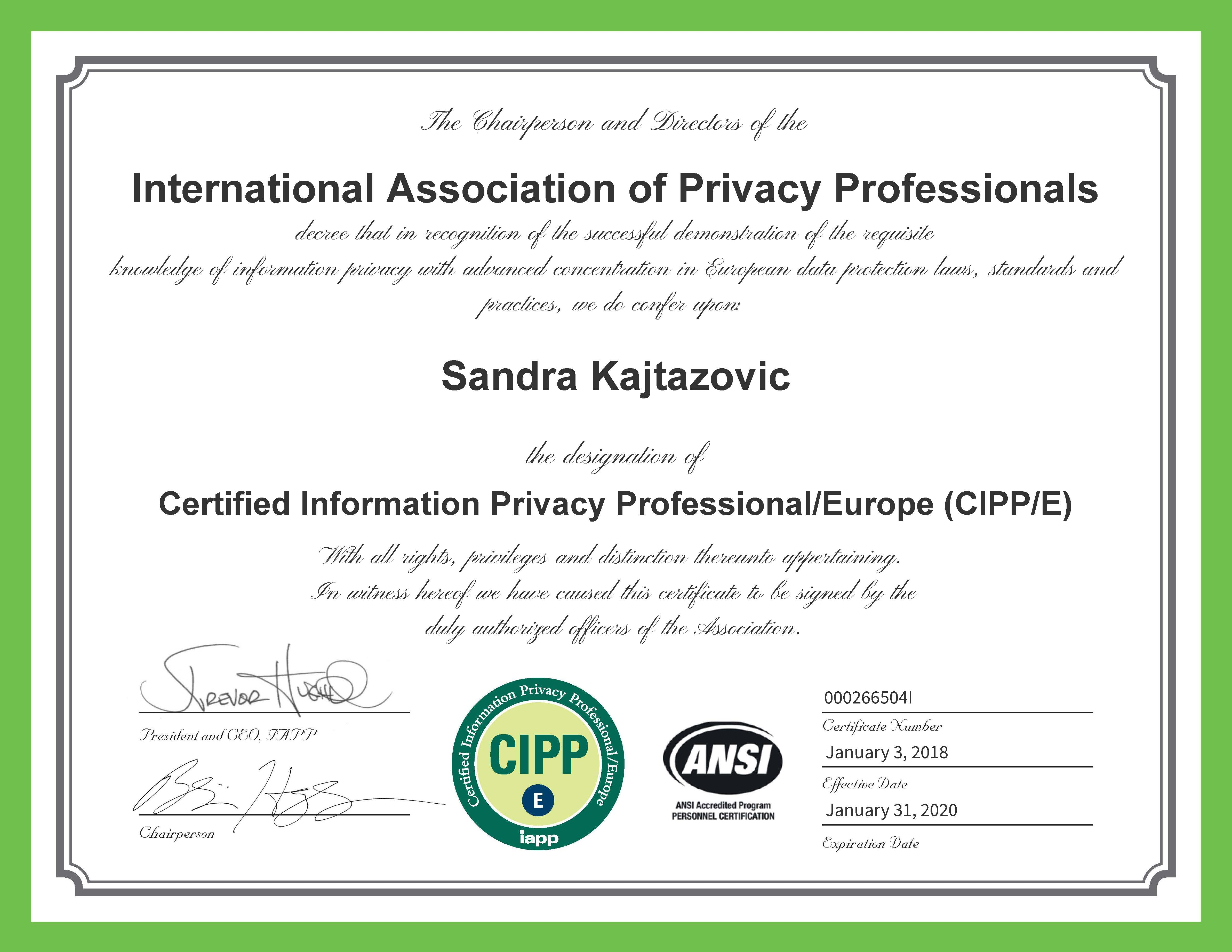 Certified Information Privacy Professional / Europe